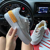 Женские кроссовки Nike Air Force 1 Shadow White Orange, женские кроссовки найк аир форс 1 шадоу