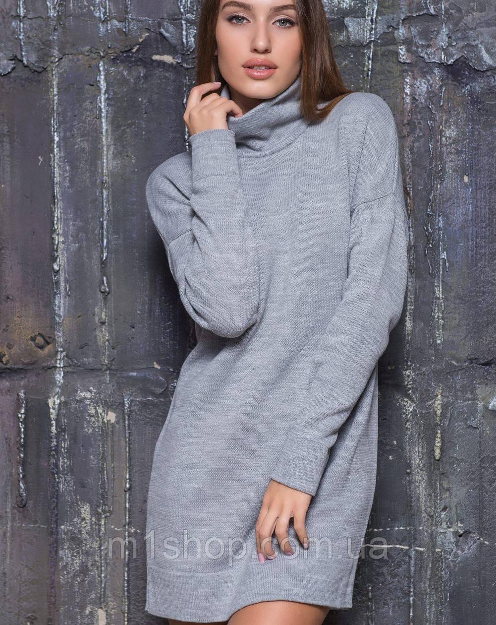 Вязаная женская туника-платье под горло (2106 sk)