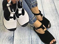 Черные замшевые босоножки сандалии 1 см каблук, кожа или замша пошив с рюшечкой размеры 36-41, фото 2