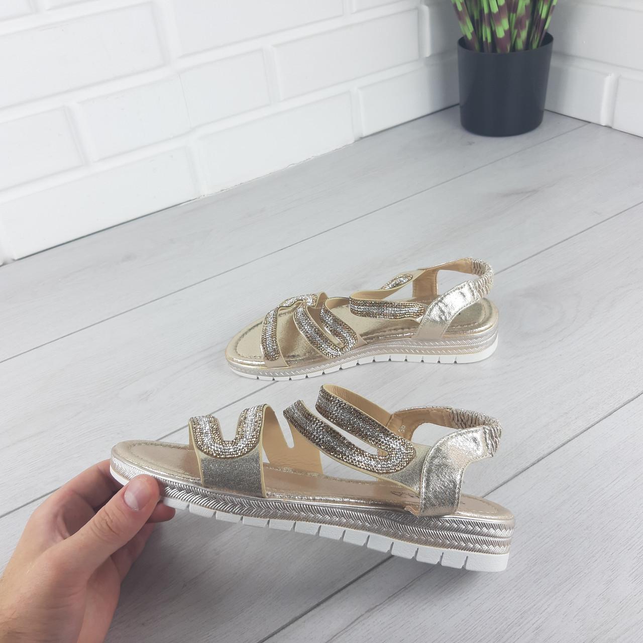 Босоножки женские, сандалии летние . Босоножки на плоской подошве золото из эко кожи