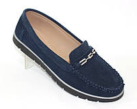 Синие мокасины из натуральной замши , женские туфли