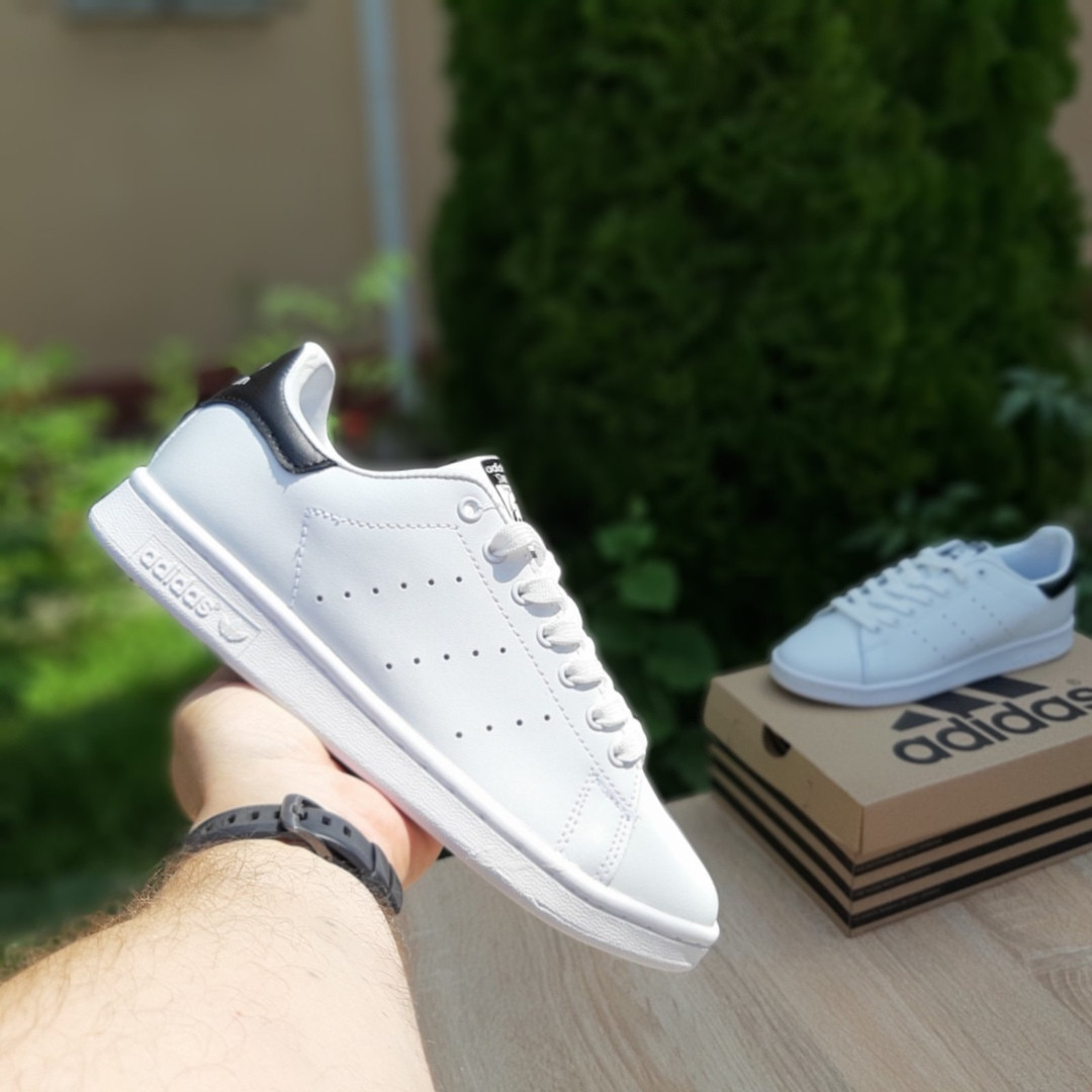 Мужские кроссовки Adidas Stan Smith (бело-черные) 10219