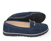 Женские туфли из натуральной замши, синие мокасины