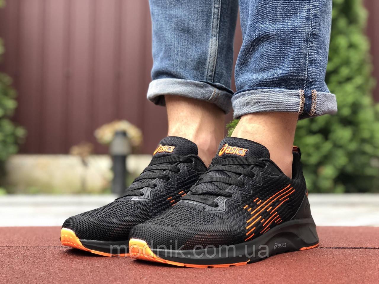 Мужские кроссовки Asics (черно-оранжевые) 9623
