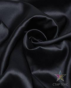 Ткань Атлас стрейч тонкий черный