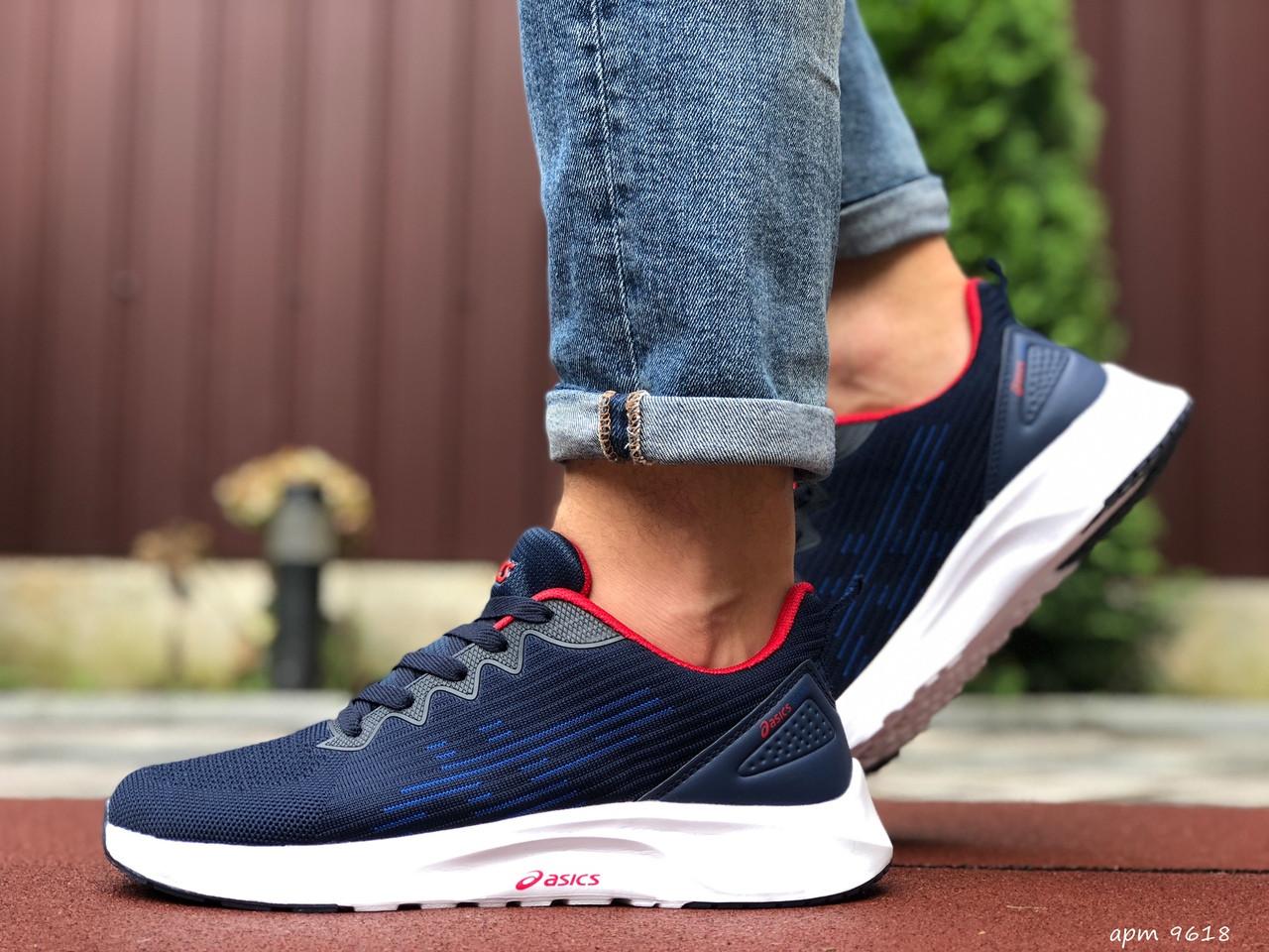 Мужские кроссовки Asics (сине-белые с красным) 9618