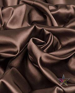 Ткань Атлас стрейч тонкий коричневый