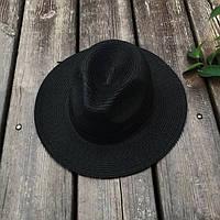 Женская летняя шляпа Федора черная, фото 1