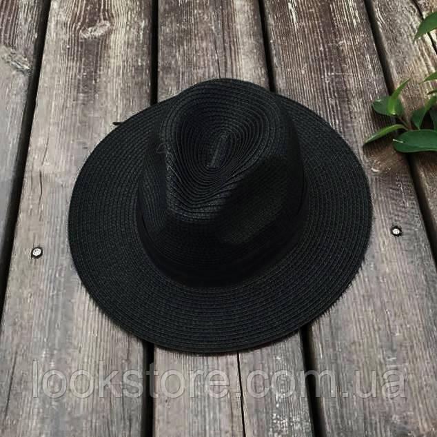 Женская летняя шляпа Федора черная