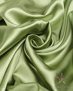 Ткань Атлас стрейч тонкий оливковый