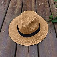 Женская летняя шляпа Федора кофейная, фото 1