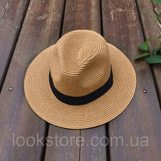 Женская летняя шляпа Федора кофейная
