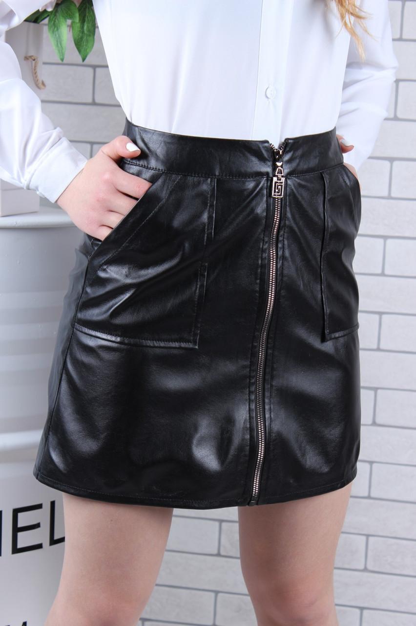 Подростковая юбка кожзам для девочки с молнией  р.146-164 черная