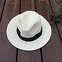 Женская летняя шляпа Федора молочная