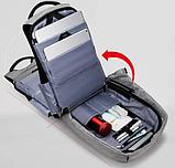 Рюкзак антивор Bobby c защитой от карманников и с USB для зарядки серый, фото 7