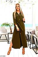 Длинное женское летнее платье-рубашка с поясом прямого кроя арт 1131
