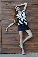Полосатое пляжное платье мини с кружевом Ora 400116 46(L) Синий-Белый Ora 400116
