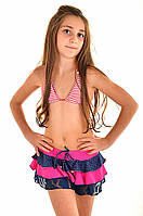 Яркая пляжная юбка для девочки Amarea 17902 134 Малиновый Amarea 17902