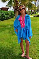 Голубая пляжная туника для девочки BAEL 5528 G 128 Голубой BAEL 5528 G