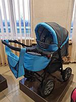 Детская коляска - трансформер Viki Karina (Карина) С13 - темно серый - голубой