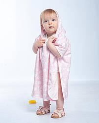 Детское хлопковое полотенце пончо с капюшоном после купания Twins до 3 лет 70х120 см, розовый