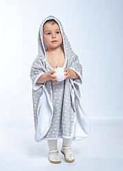 Пончо-полотенце детское двусторонное с капюшоном Twins до 5 лет (80х140 см) 100% хлопок, серый