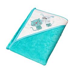 Детское махровое полотенце с капюшоном для купания малыша Tega PK-008 Кот и пес 100X100, голубой