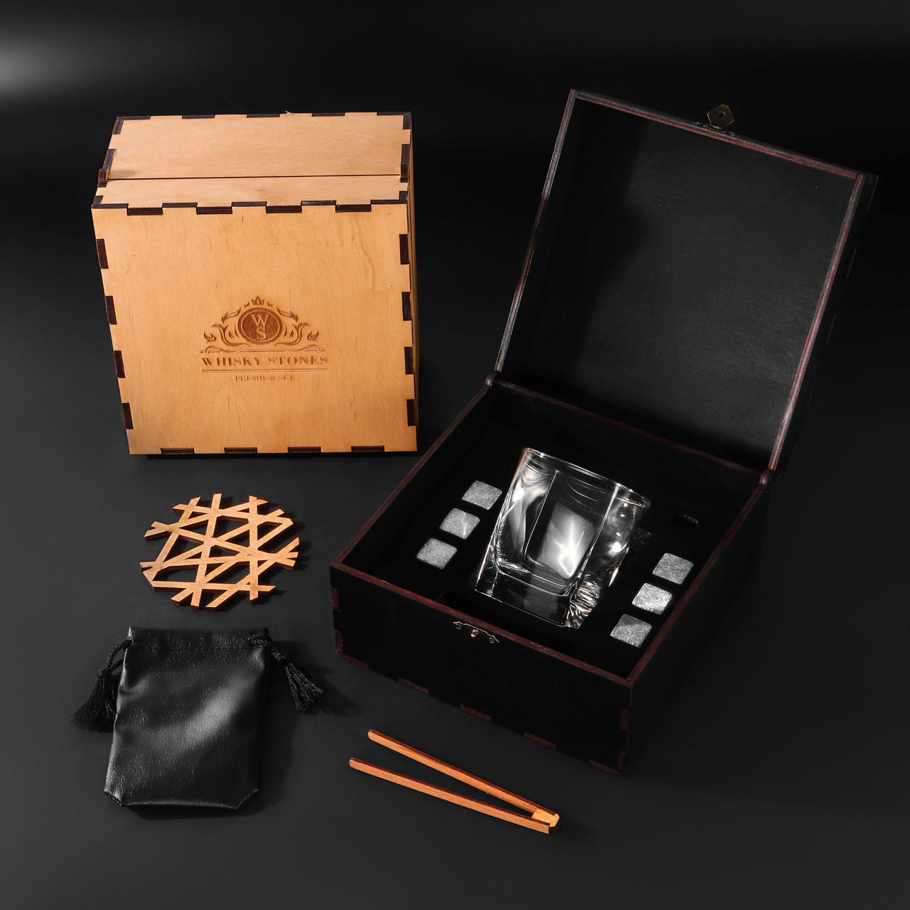 Камни для виски. Подарок мужу. Камни для виски подарочный деревянный набор с бокалом Bohemia