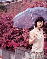 """Зонт-трость """"Прозрачный"""" голубой"""