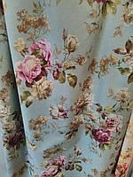 Ткань в стиле прованс, 100 % хлопок, Испания, рисунок розы на бирюзовом фоне
