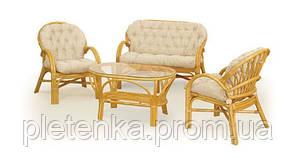 Комплект для отдыха из ротанга:2 кресла+диван+столик