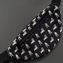 """Черная бананка """"Цуценята-мопсик с регулируем ремнем,на пояс и через плечо, кроссбоди, сумка спортивная беговая, фото 3"""