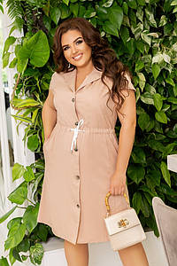 Женское платье на пуговичках под пояс с карманами 48-50, 52-54, 56-58