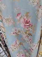 Ткань в стиле прованс, 100 % хлопок, Испания, рисунок букеты, цвет голубой