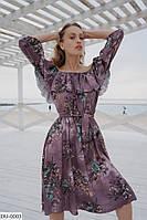 Красивое летнее легкое женское платье с воланом на груди арт 531