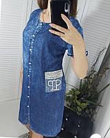 Платье джинсовое больние размеры  48-54 размер, фото 1