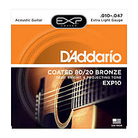 Струны для акустической гитары D`ADDARIO EXP10 EXP 8020 BRONZE EXTRA LIGHT 10-47