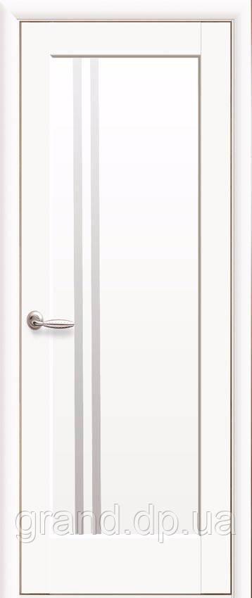 Межкомнатная дверь  Делла ПВХ DeLuxe со стеклом сатин,цвет белый матовый