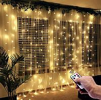 Новогодняя гирлянда штора  3*3 метра от USB с пультом управления, фото 1