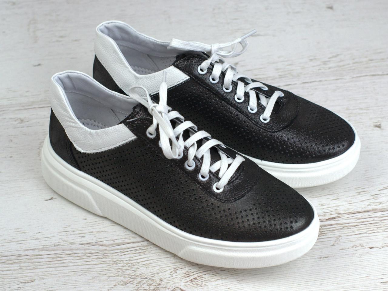Кроссовки кеды черные кожаные перфорация летняя женская обувь Rosso Avangard Mozza Slip Blac Perf