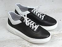 Кроссовки кеды черные кожаные перфорация летняя женская обувь Rosso Avangard Mozza Slip Blac Perf, фото 1
