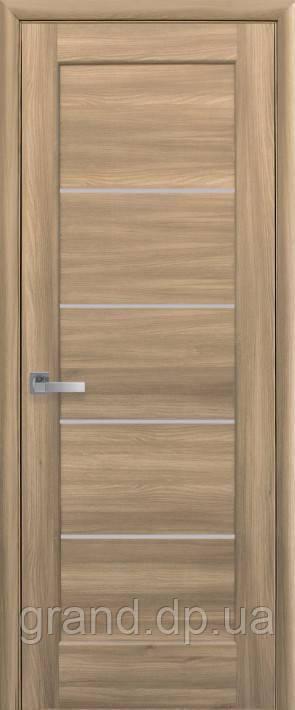 Межкомнатная дверь  Мира ПВХ DeLuxe с матовым стеклом ,цвет дуб золотой