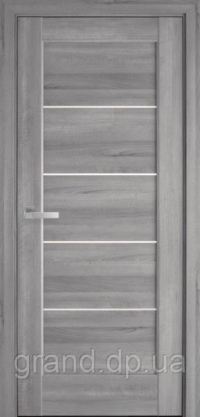 Межкомнатная дверь  Мира ПВХ DeLuxe с матовым стеклом ,цвет бук пепельный