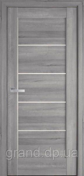 Межкомнатные двери Новый Стиль Мира ПВХ DeLuxe со стеклом сатин, цвет Бук пепельный