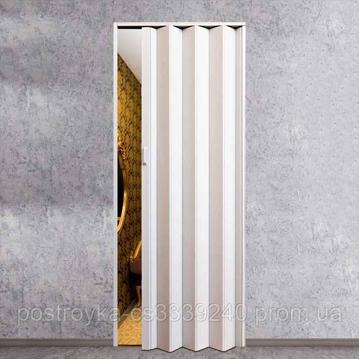 Двери гармошка Vinci Decor Арктический белый   межкомнатные глухие