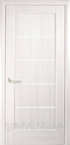 Межкомнатная дверь  Мира ПВХ DeLuxe с матовым стеклом ,цвет ясень new