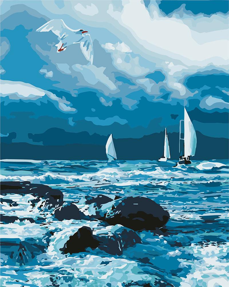 Картина по номерам Идейка Парусники на море 40*50 см (без коробки) арт.KHO2747