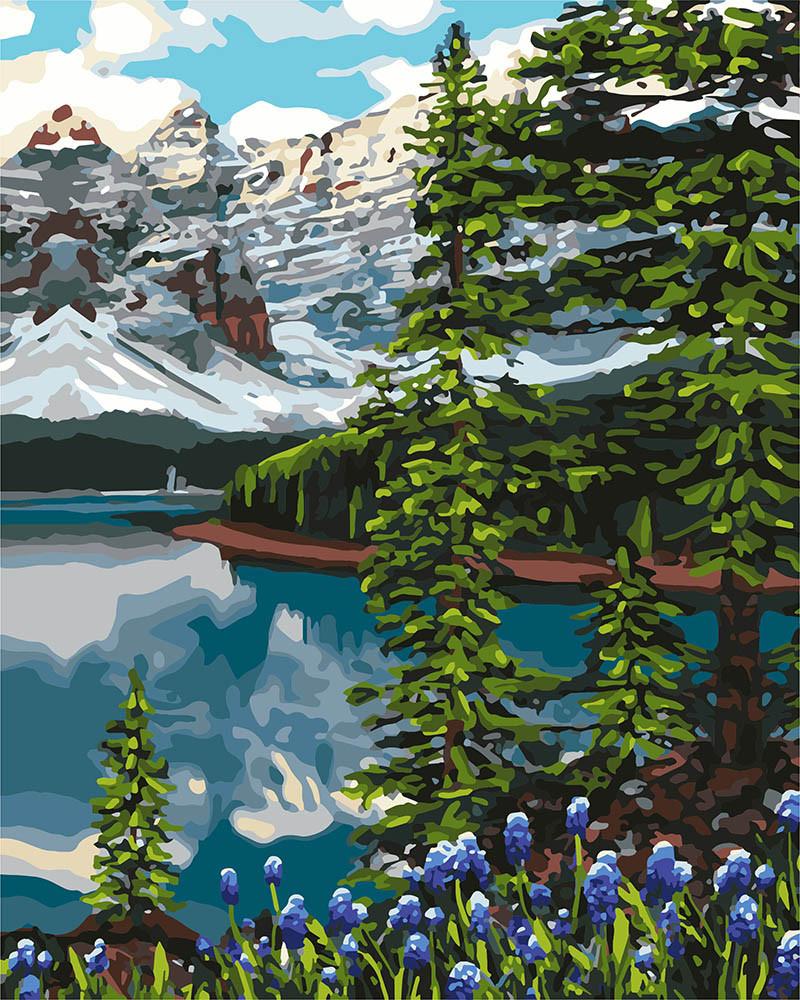 Картина по номерам Идейка Ель в горах 40*50 см (без коробки) арт.KHO2748