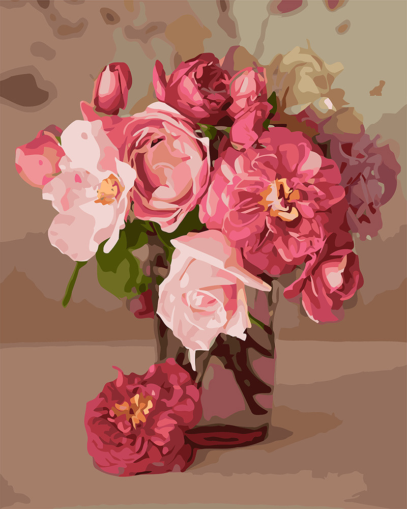 Картина за номерами Ідейка Рожеве натхнення 30*40 см арт.KHO3082