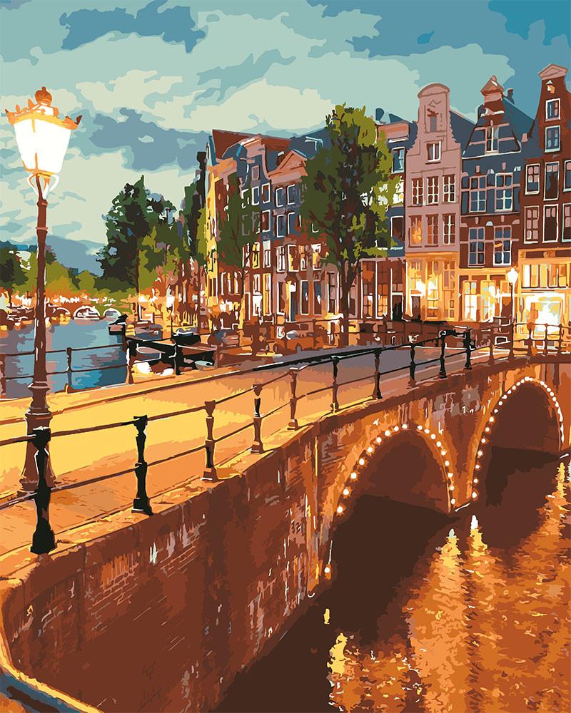 Картина по номерам Идейка Вечерний Амстердам 40*50 см (без коробки) арт.KHO3578